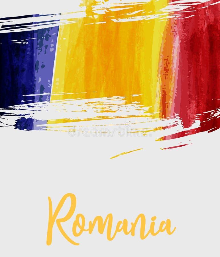 Grunge Rumunia flaga tło royalty ilustracja