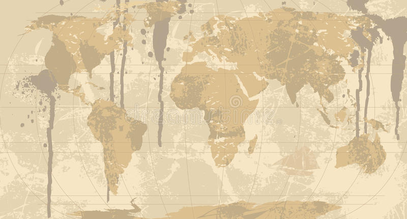 Download A Grunge Rustic World Map Stock Vector