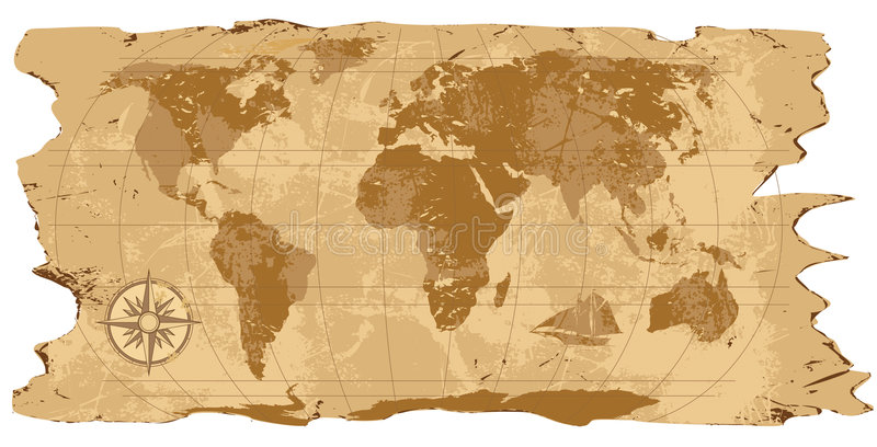 Grunge, Rustic World Map stock illustration