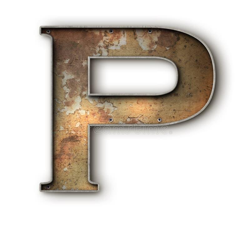 Grunge rusto Alfa P ilustración del vector