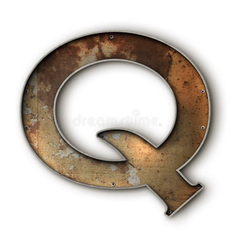 Grunge rusto alfa Q ilustración del vector