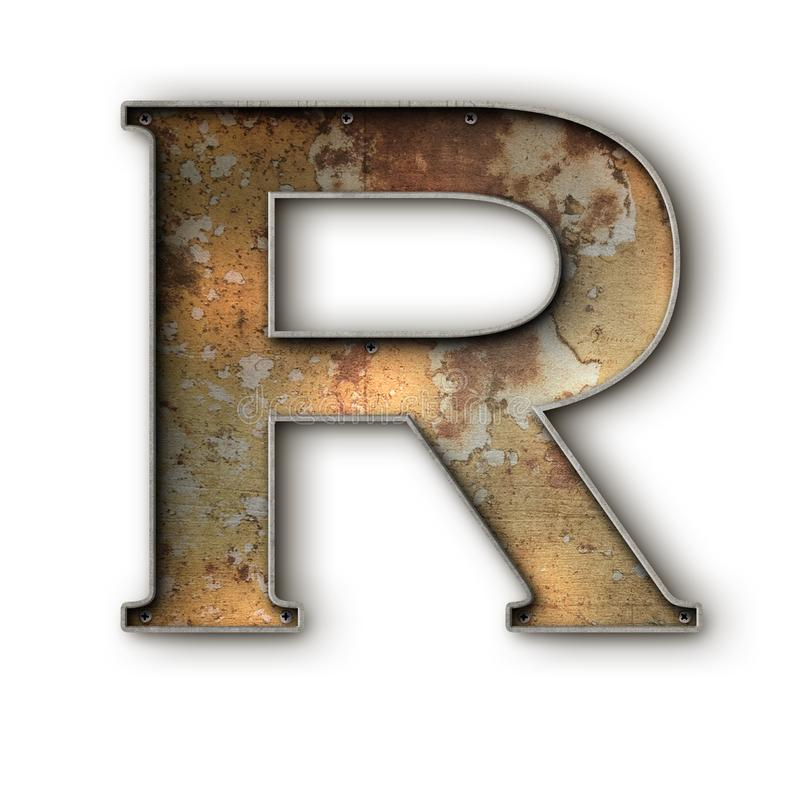 Grunge rusto alfa R stock de ilustración