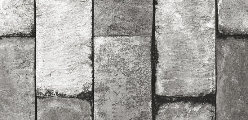 Grunge, Ruwe of Vuile steenmuur voor achtergrond in zwart-witte kleurenstijl royalty-vrije stock foto