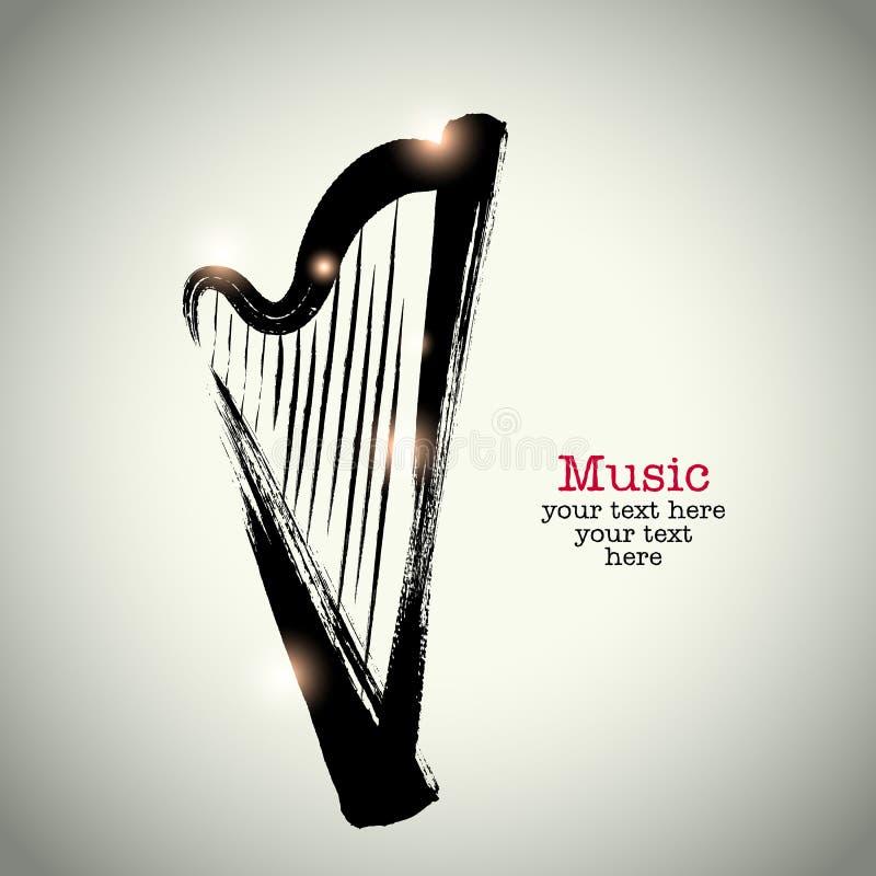 Grunge rysunkowa harfa z brushwork royalty ilustracja