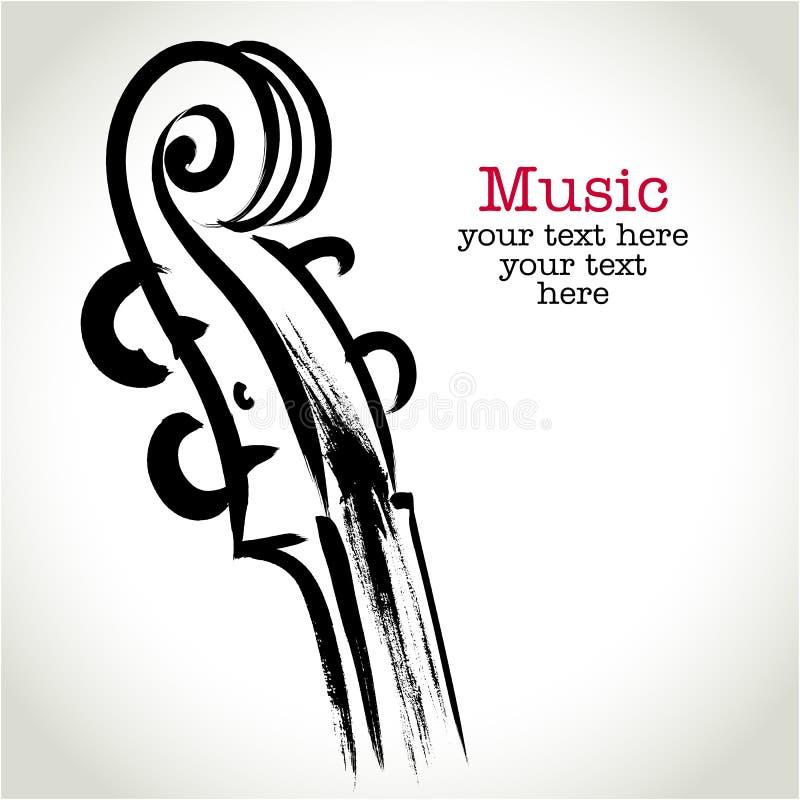 Grunge rysunkowy skrzypce z brushwork royalty ilustracja