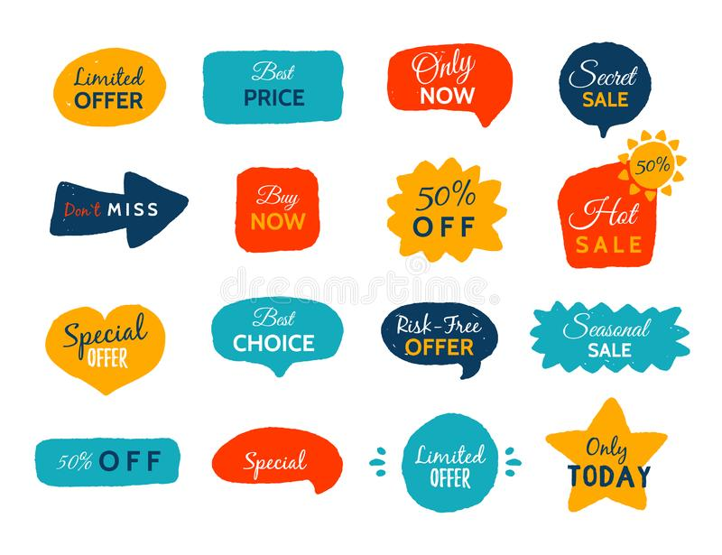 Grunge sale badge collection. Discount price offer set with place for text. Promo coupon labels royalty free illustration