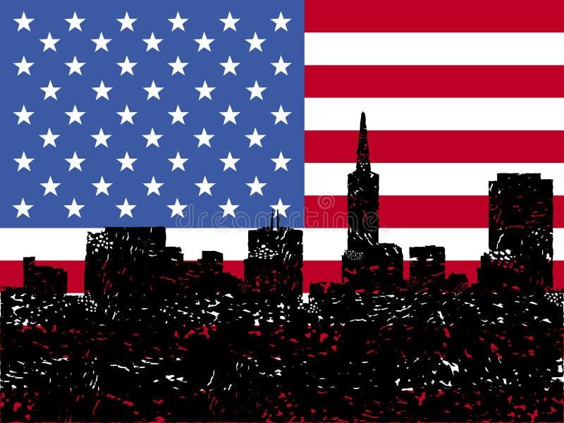 Grunge San Francisco Skyline With Flag Stock Images
