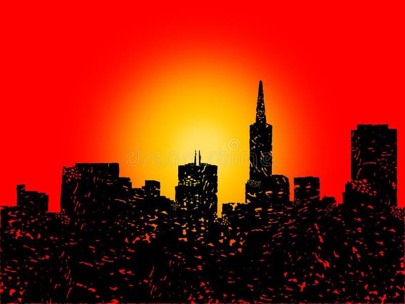 Download Grunge San Francisco Skyline With Sunset Stock Illustration - Illustration: 21243637