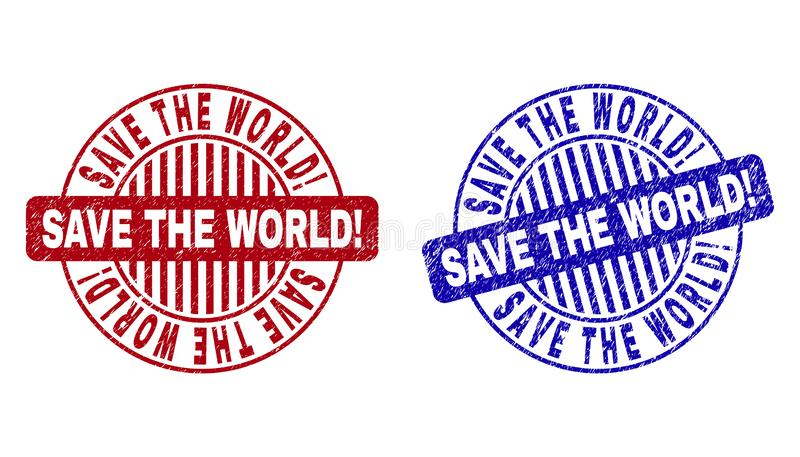 Grunge SAVE THE WORLD! Scratched Round Stamp Seals royalty free illustration