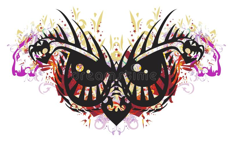 Grunge scary tribal owl eyes vector illustration
