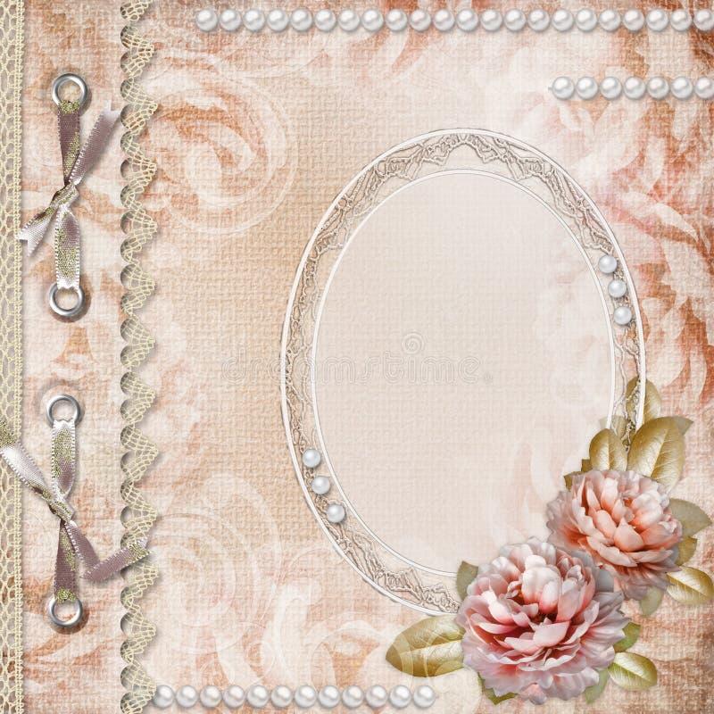 Grunge schöne Rose-Album-Abdeckung lizenzfreies stockbild