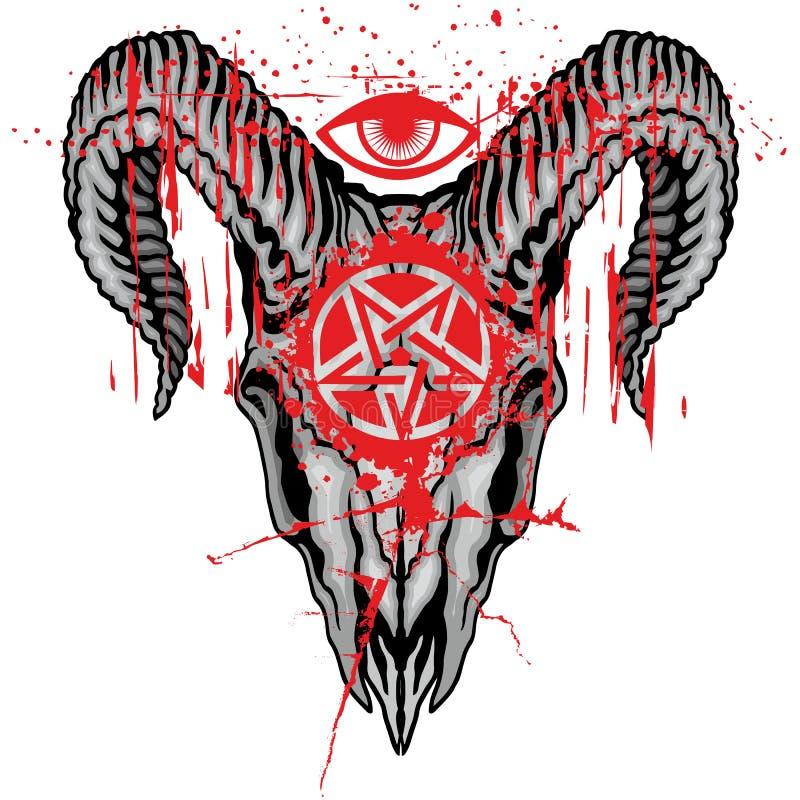 grunge schedelwapenschild stock illustratie
