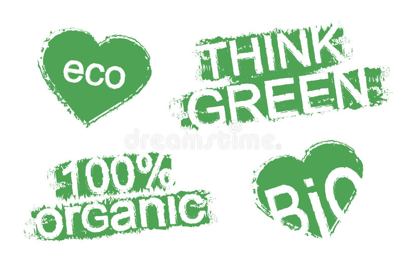 Grunge scratch green organic product stamps vector illustration