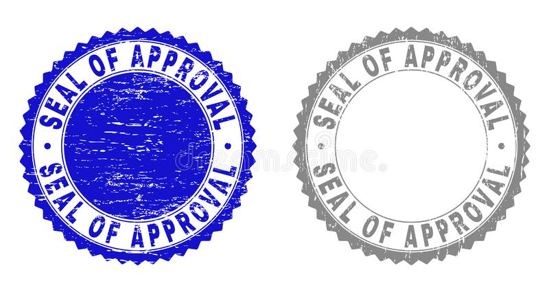 Grunge SEAL OF APPROVAL Scratched Stamp Seals. Grunge SEAL OF APPROVAL stamp seals isolated on a white background. Rosette seals with grunge texture in blue and vector illustration