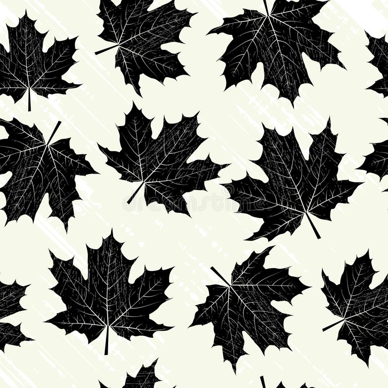 Grunge background with black leaves stock illustration