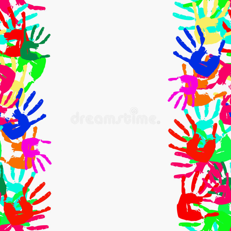 Free Grunge Seamless Frame From Prints Of Hands. Vector Stock Photo - 18076250