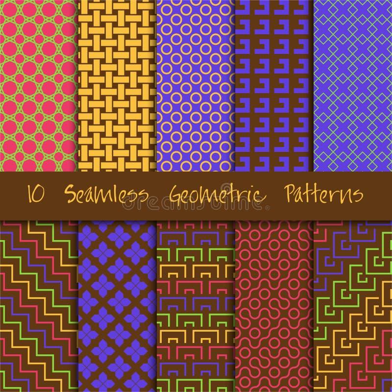 Grunge Seamless Geometric Patterns Set. stock illustration