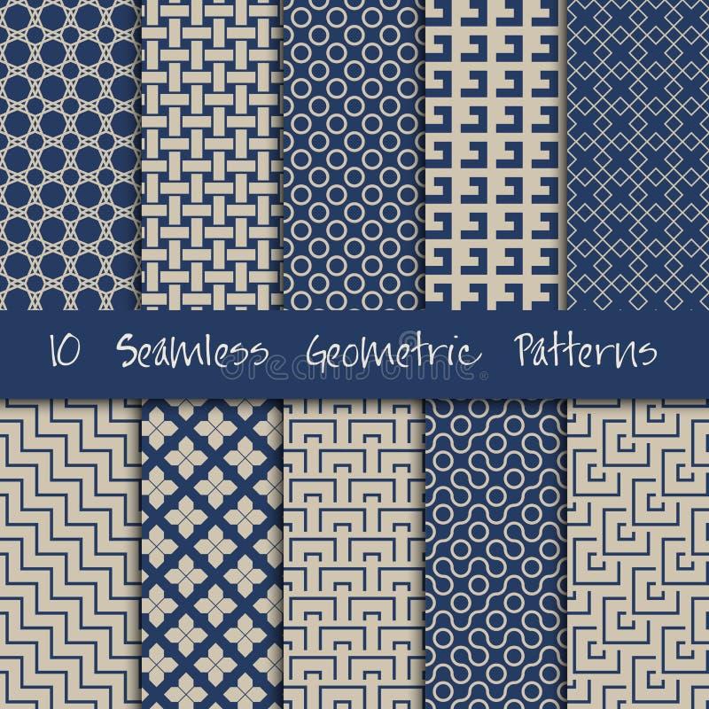 Grunge Seamless Geometric Patterns Set. royalty free illustration