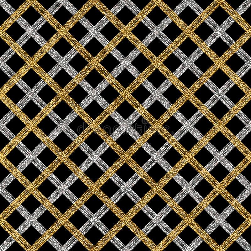 Grunge seamless pattern of gold silver diagonal stripes or lines stock illustration