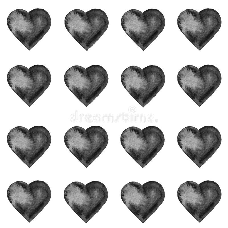 Grunge seamless pattern with hand painted black hearts. Texture for web, print, valentines day wrapping paper, wedding invitation card background, textile royalty free stock photography