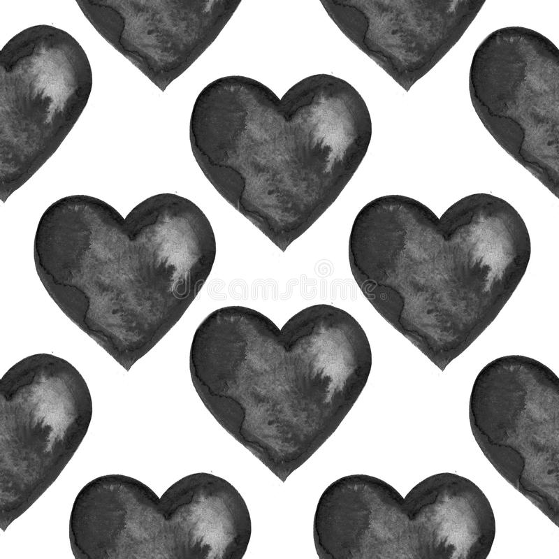 Grunge seamless pattern with hand painted black hearts. Texture for web, print, valentines day wrapping paper, wedding invitation card background, textile stock image