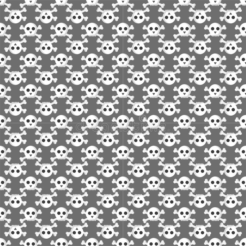 Grunge seamless pattern with skulls vector illustration human bone horror art dead face skeleton. Grunge seamless pattern with skulls vector illustration stock illustration