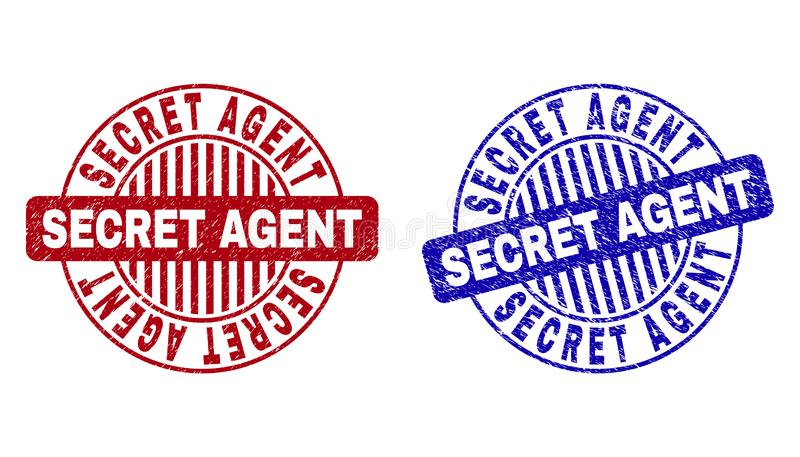 Grunge SECRET AGENT Textured Round Stamps. Grunge SECRET AGENT round stamp seals isolated on a white background. Round seals with grunge texture in red and blue royalty free illustration