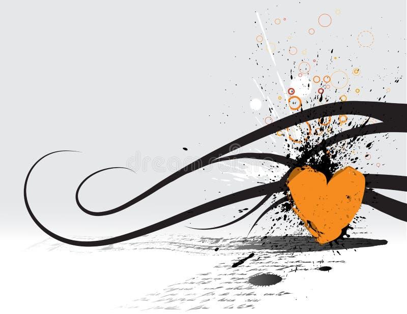 grunge serca czerwony ilustracji