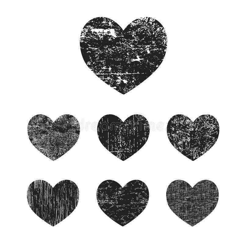 Grunge serca kolekcja ilustracja wektor