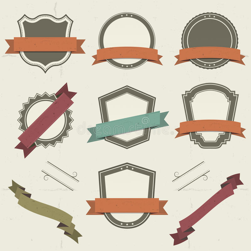 Grunge Shields, Labels And Banners stock illustration