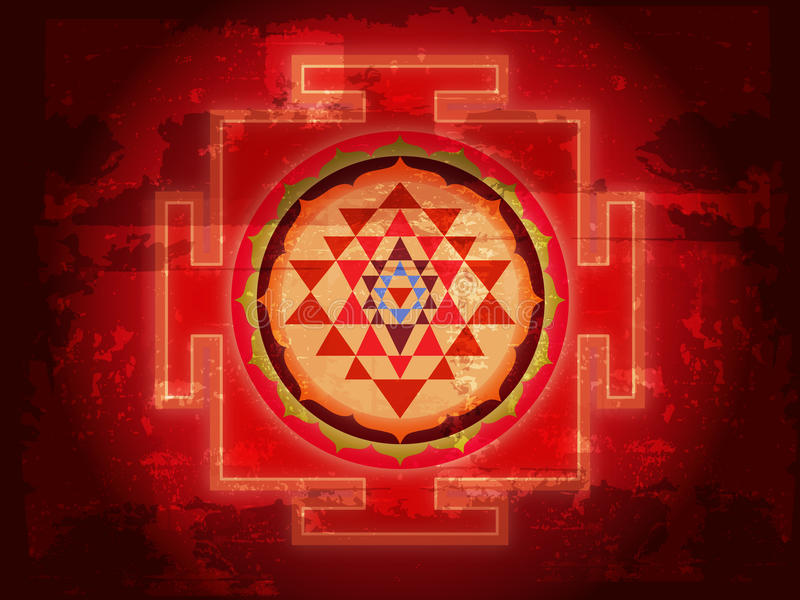 Grunge Shree Yantra stock illustration