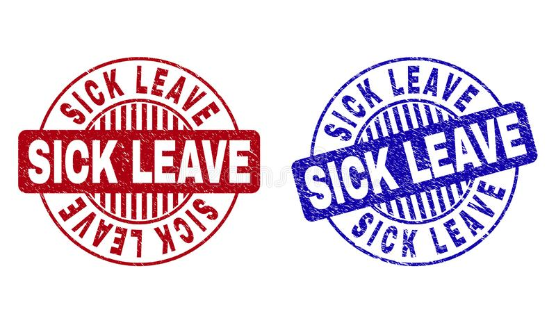 Grunge SICK LEAVE Textured Round Stamp Seals stock illustration