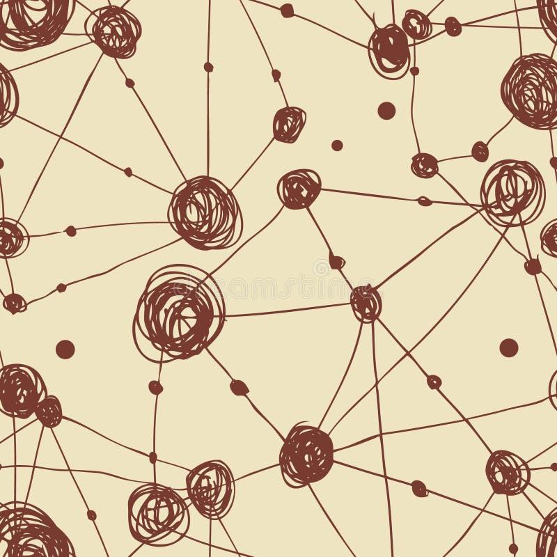 Grunge sieci abstrakcjonistyczny liniowy wzór Bezszwowi atomowi kratownica elementy ilustracja wektor