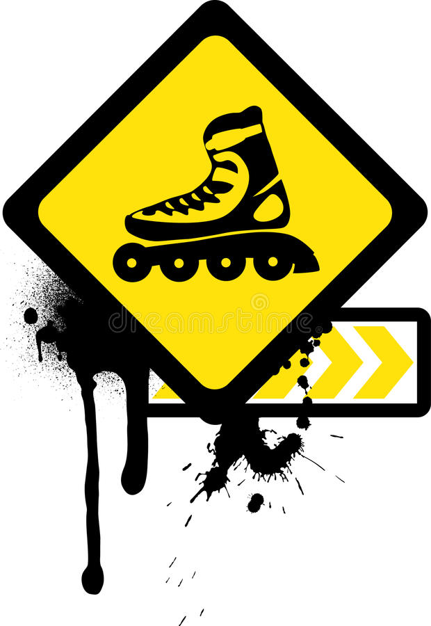 Download Grunge Sign With Roller Skates. Stock Vector - Image: 15125400