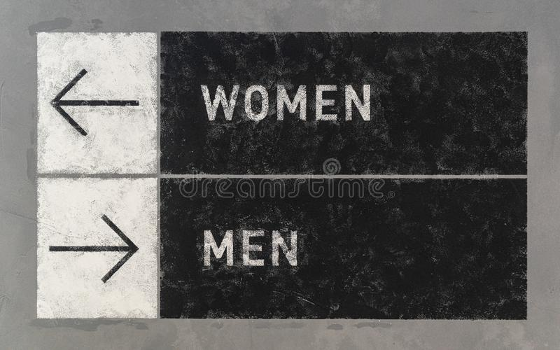 Grunge signs with arrows pointing two opposite directions towards Men and Women. Gentlemen, art, background, black, choose, communication, compare, comparison royalty free stock photography