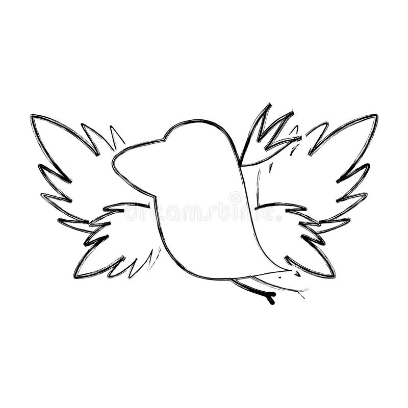 Grunge silhouette bird with exotic leaves reserve stock illustration
