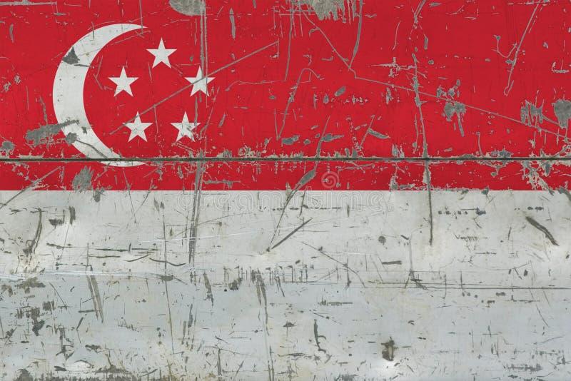 Grunge Singapur flaga na starej porysowanej drewnianej powierzchni Krajowy rocznika tło fotografia royalty free
