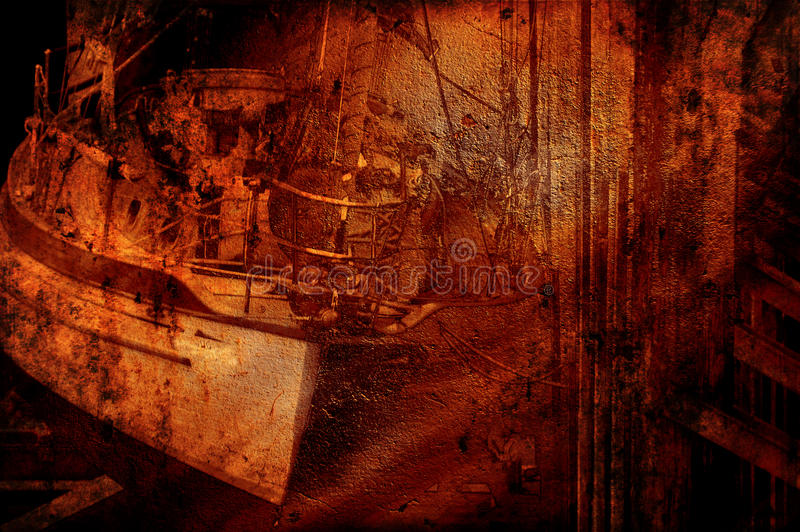 Grunge skeppsbrott royaltyfri fotografi