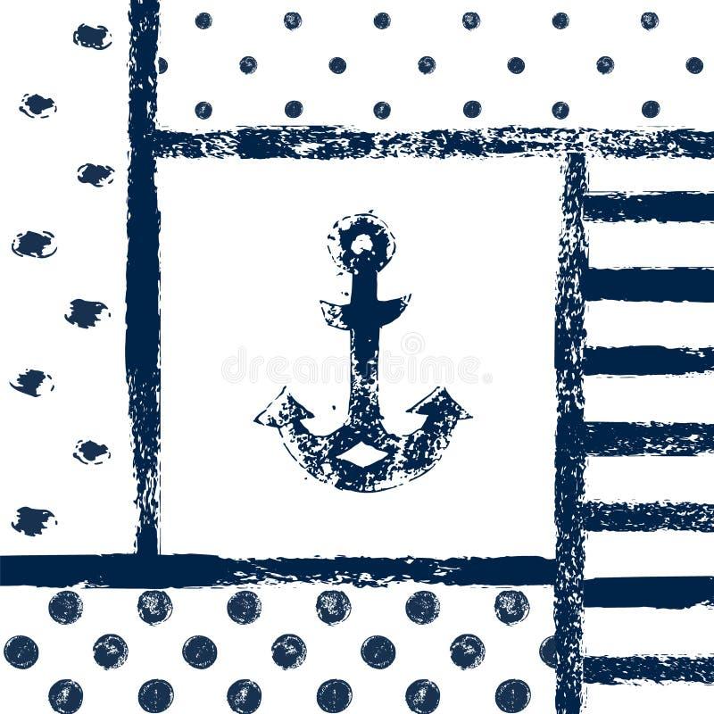 Grunge skrivev ut ankarkonturn i en mönstrad ram, marin- vektorillustration royaltyfri illustrationer