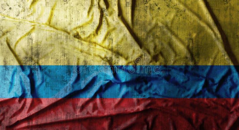 Grunge skrynklade den Colombia flaggan framförande 3d arkivfoto