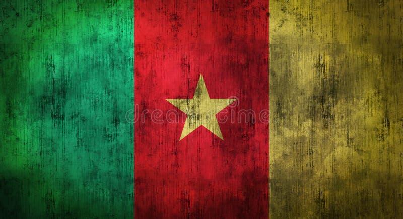 Grunge skrynklade Kamerunflaggan framförande 3d arkivfoton