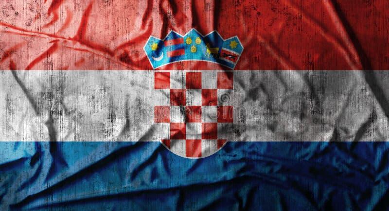 Grunge skrynklade Kroatienflaggan framförande 3d arkivfoton