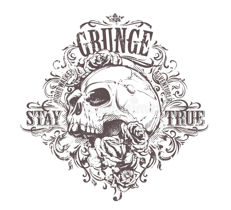 Grunge Skull Art royalty free illustration