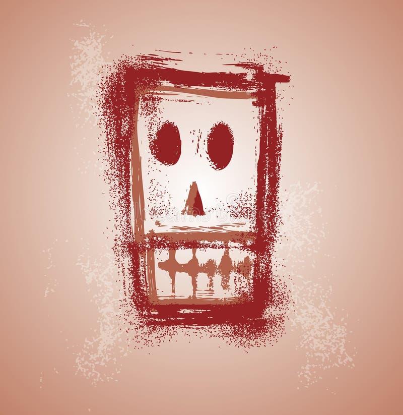 Grunge skull face vector illustration