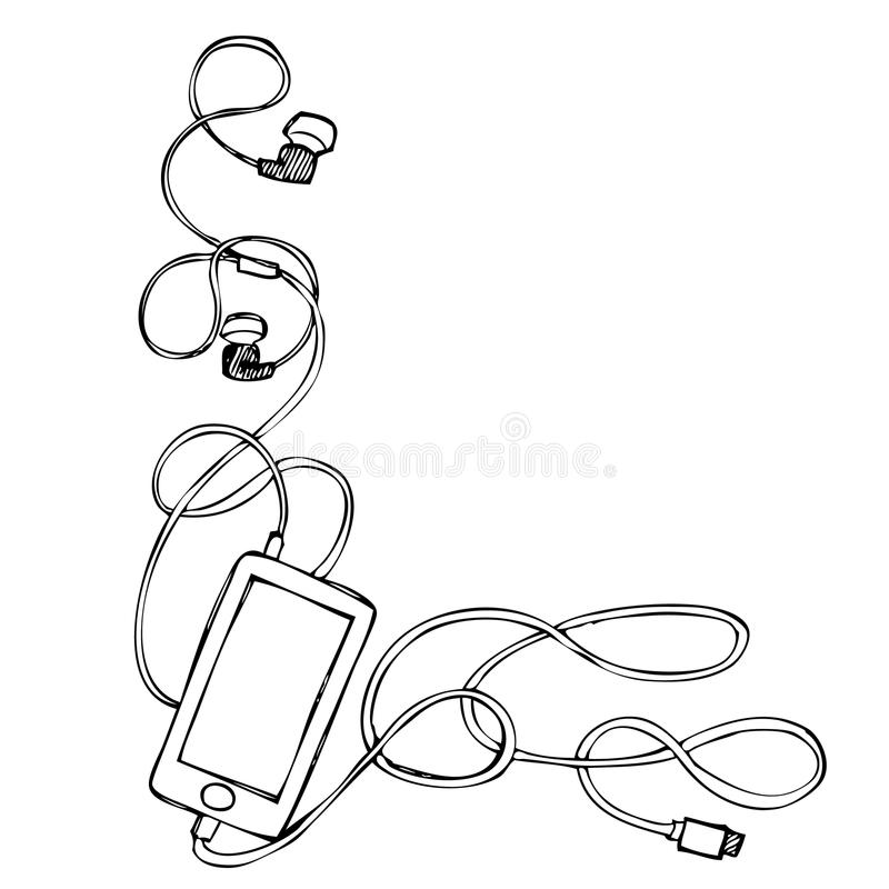 Free Grunge Smart Phone With Earphones, Usb Cable And Plug Royalty Free Stock Image - 62084796