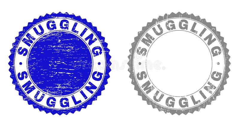 Grunge SMUGGLING Textured Watermarks vector illustration