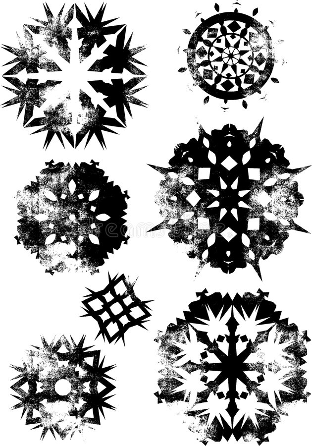 Grunge snowflakes 1 stock illustration