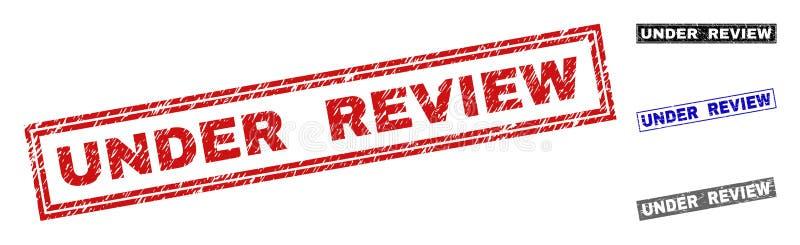 Grunge SOB selos Textured do selo do retângulo da REVISÃO ilustração royalty free