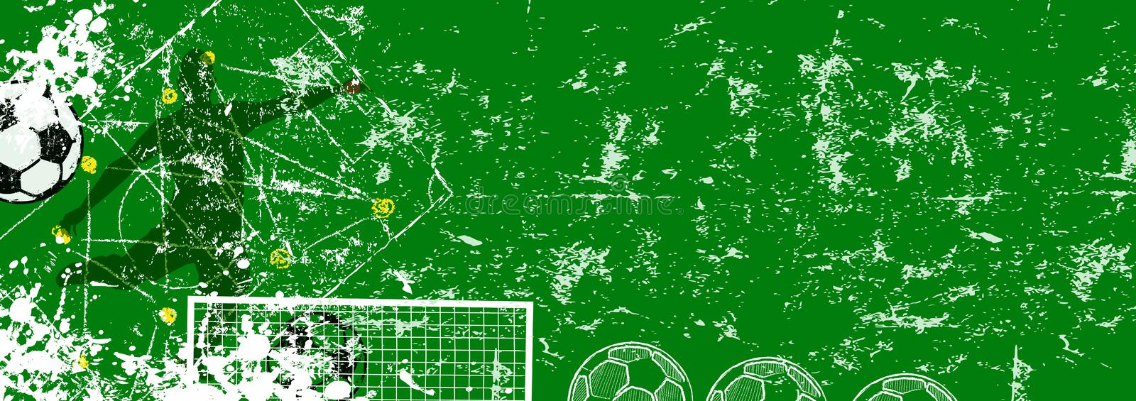 Grunge soccer o. football design template, vector with free copy space royalty free stock photo