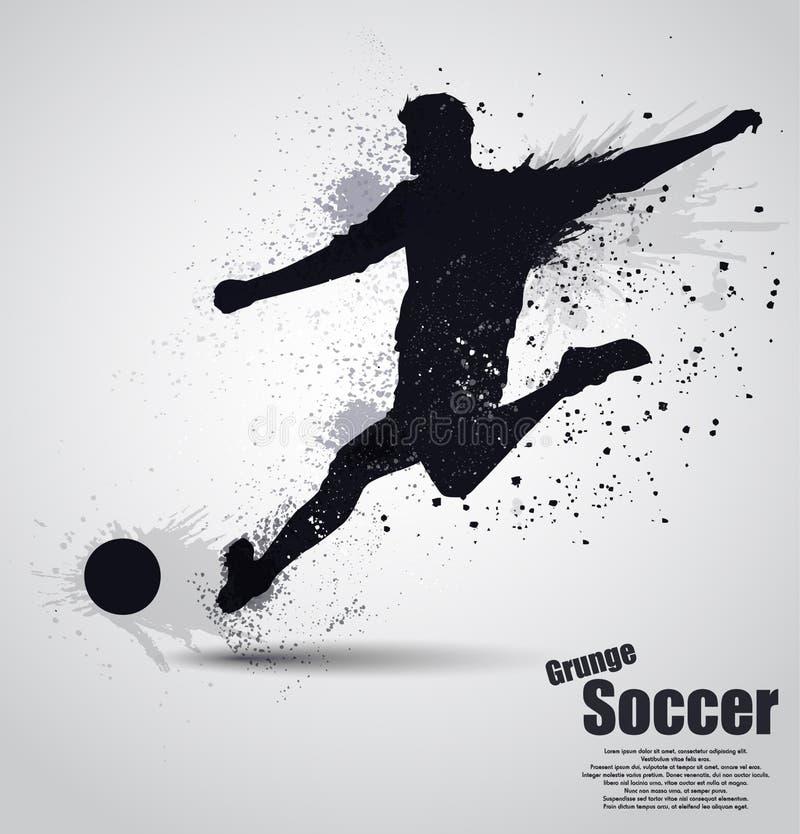Grunge soccer player vector illustration